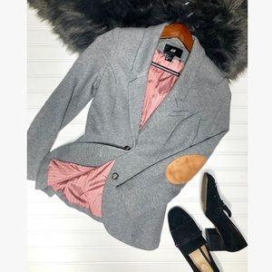 H&M Heather Gray Schoolboy Blazer Elbow Patches